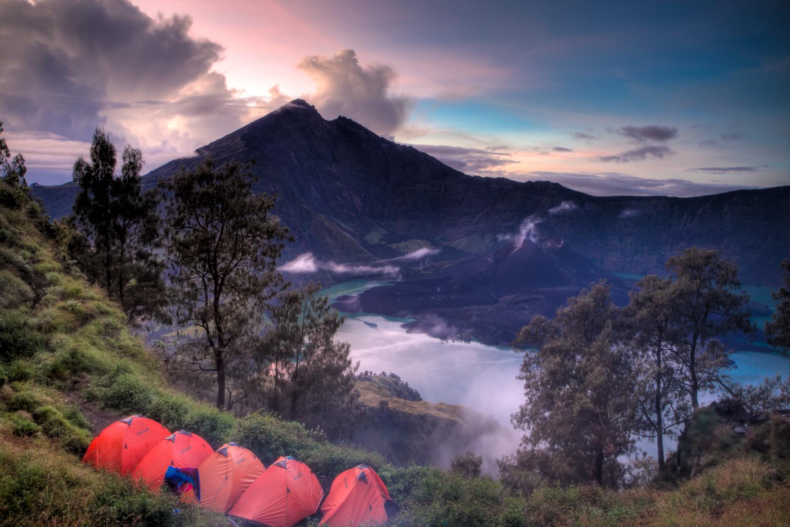 Camp på Rinjani vulkanen